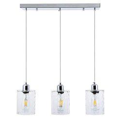 SHENGQINGTOP 3-Light Clear Hammered Glass Pendant Lights Modern Island Lighting Multi Kitchen Ha ...