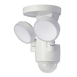 LP-1803-WH 180-Degree White Motion Activated Outdoor Integrated LED Flood Lights with 1100 Lumen ...