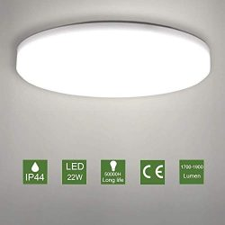 LED Ceiling Lamp, OOWOLF Modern 22W Led Ceiling Light Fixture Ultra Thin 11.8in IP44 Waterproof  ...
