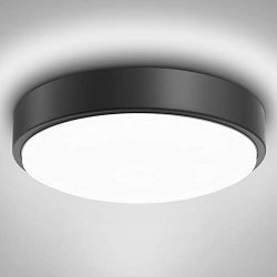 Olafus 32W LED Ceiling Light Fixture, IP44 Waterproof Flush Mount Glass Round Ceiling Lamp, 2800 ...