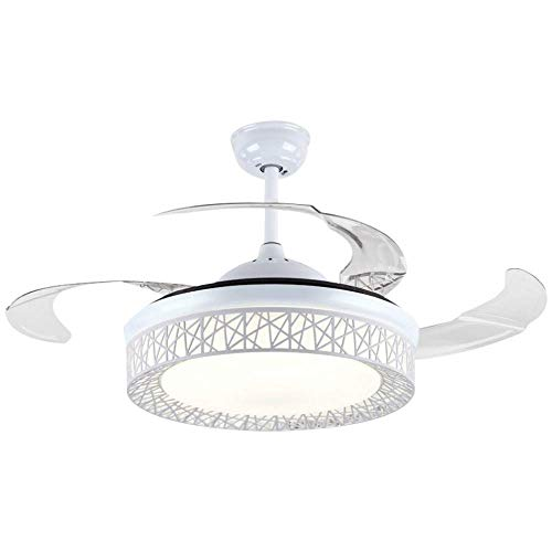 Modern Fan Ceiling Light with Remote Control Three-Color Dimmable Bedroom Fan Chandelier Blade R ...