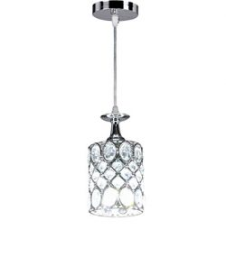 New Legend Lighting 1-light Chrome Finish Metal Shade Crystal Chandelier Hanging Pendant Ceiling ...