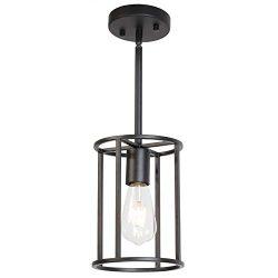 VINLUZ 1-Light Fixture Contemporary Modern Pendant Lighting Black Metal Cage Chandelier Round, R ...