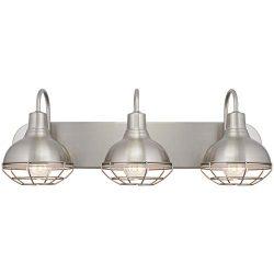 Kira Home Liberty 24″ 3-Light Modern Industrial Vanity/Bathroom Light, Brushed Nickel Finish