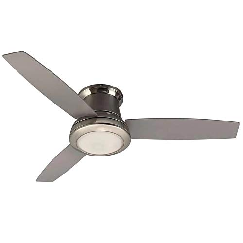 Harbor Breeze Sail Stream 52-in Brushed Nickel LED Indoor Flush mount Ceiling Fan with Light and ...