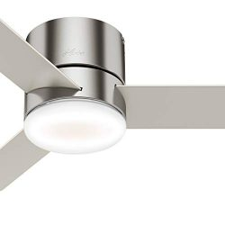 Hunter Fan 44 inch Low Profile Brushed Nickel Indoor Ceiling Fan with Light Kit and Remote Contr ...