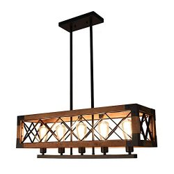 OYIPRO Industrial Kitchen Island, 5 Chandelier Farmhouse Hanging Fixture Retro Ceiling Rectangul ...