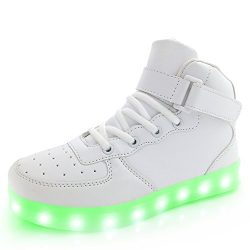 APTESOL Kids Youth LED Light Up Sneakers Boys Girls High Tops Cute Cool Flashing Shoes Halloween ...