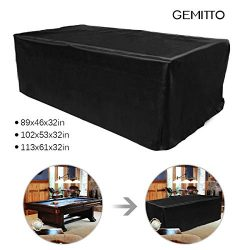 GEMITTO 7/8/9 ft Pool Table Cover, Waterproof Billiard Cover Polyester Fabric for Snooker Billia ...