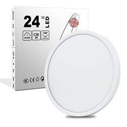 LED Flush Mount Ceiling Light, 12 Inch 24W, 3200LM Flat Modern Lighting Fixture, 5000K, 250W Equ ...