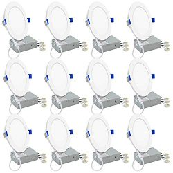 12 Pack 12W Slim LED Recessed Downlight 6 Inch with Junction Box, VOLISUN 5000K Daylight, Dimmab ...