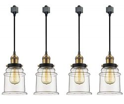 Kiven 4-Light H System Track Lighting Pendants,Clear Glass Shade Fitting Track Light Kit, Bulb I ...