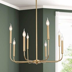 KSANA Light Gold Modern Chandelier, 8 Lights Candle Chandeliers for Dinning Room, Gold Pendant L ...
