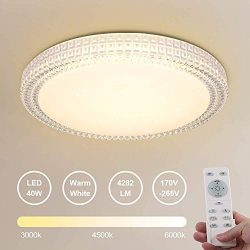 OOWOLF 40W Dimmable LED Fixture Lamp Ceiling Light with Remote 15.4 Inch 3000-6000k Slim Shade f ...