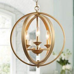 KSANA Gold Orb Chandelier, Modern Globe Chandelier, Dining Room Lighting Fixtures Hanging, 3 Lig ...