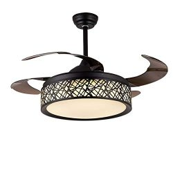 BIGBANBAN 42 inch Modern Chandelier Ceiling Fan with Remote, Three Light Colors Ceiling Fan 4 Re ...
