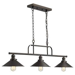 Zeyu Industrial 3-Light Pendant Lighting, Vintage Kitchen Island Light with Oil Rubbed Bronze Fi ...