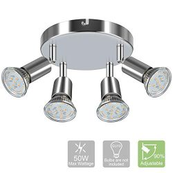 Modern Round 4-Light Track Lighting Fixtures, 4 Way GU10 Ceiling Spotlight (ø180mm), Flexibly Ro ...