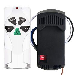 Universal Ceiling Fan Remote Control 53T and Receiver Kit Add to Any 3-speed fan with Dimming fo ...