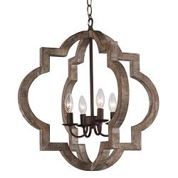 Vintage Retro Iron Wooden Chandelier Rustic Metal and Wood Ceiling Pendant Chandeliers Hanging C ...