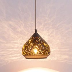 Industrial Mini Pierced Pendant Light in Handmade Lacquer Finish with Black Metal Shape, Adjusta ...