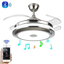 LUOLAX Modern Ceiling Fan Lights with Retractable Invisible Blades and Remote Control with Silen ...