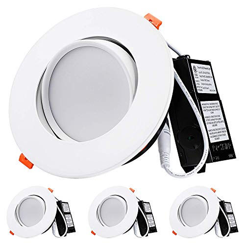 TORCHSTAR 13.5W 6 Inch Gimbal LED Recessed Light with Junction Box Air Tight, CRI90+ 3000K, Dimm ...