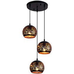 Black Pendant Lighting Industrial Hanging Lamp Adjustable Light Fixture with Snowflake Pattern C ...