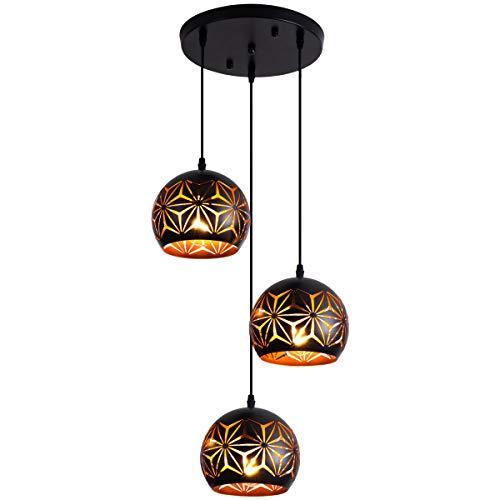 Black Pendant Lighting Industrial Hanging Lamp Adjustable Light Fixture with Snowflake Pattern C ...