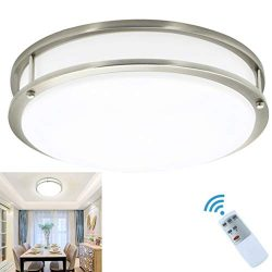 30W Modern LED Dimmable Flush Mount Ceiling Light Fixture with Remote-14 Inch Brightness Adjusta ...