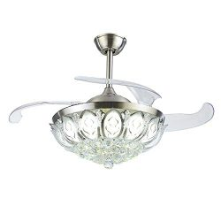 A Million 42″ Crystal Ceiling Fan Light Retractable Blades Remote Control Chrome Luxury Ch ...