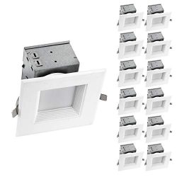 OSTWIN (12 Pack) 4 inch IC Rated Square LED Ceiling Recessed Downlight Kit With Junction box, Ba ...