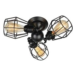 Baiwaiz Black Semi Flush Mount Ceiling Light, Industrial Metal Wire Cage Ceiling Lighting Adjust ...