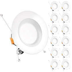 Bbounder (12pack) 5/6 inch LED Dimmable Recessed Lighting, Retrofit Downlight with Smooth Trim,  ...