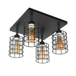 Beuhouz Industrial Iron Semi Flush Mount Ceiling Lighting, Black Metal Wire Cage Close to Ceilin ...