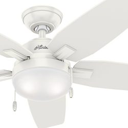 Hunter Fan 46 inch Contemporary Ceiling Fan with LED Light Kit in Fresh White, 5-Blade (Renewed)