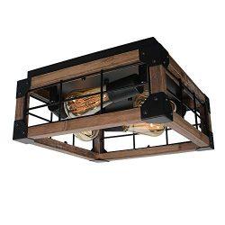Beuhouz Square Farmhouse Semi Flush Mount Lighting, Black Metal and Wood Rustic Ceiling Light Fi ...
