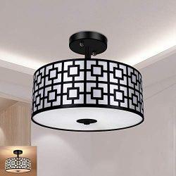 Modern Semi Flush Light Fixture Ceiling, DLLT Bedroom Ceiling Drum Light, Entry Light Fixtures C ...