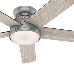Hunter Fan 54 inch Low Profile Matte Silver Indoor Ceiling Fan with Light Kit and Remote Control ...