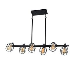 Baiwaiz Black Industrial Linear Chandelier, Metal Wire Cage Pool Table Light Retro Kitchen Islan ...
