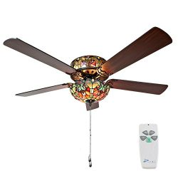 River of Goods 16159S Tiffany Style Stained Glass Halston Ceiling Fan, Spice