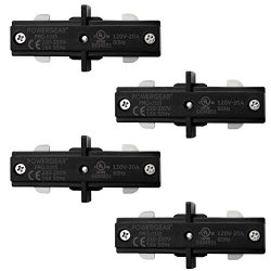 Hyperikon Black H Track Lighting Connector, I Straight Connector, Single Circuit 3-Wire Track Li ...