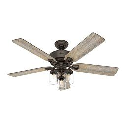 Hunter Indoor Ceiling Fan, with remote control – Devon Park 52 inch, Onyx Bengal, 54201