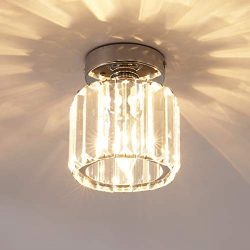 Jaycomey Mini Flush Mount Ceiling Lamp,Crystal Close to Ceiling Light,1-Light Round Chrome Penda ...