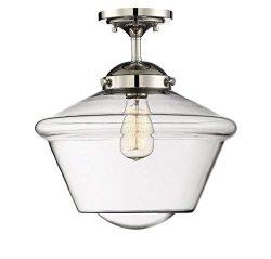 Trade Winds Lighting TW60051PN 1-Light Transitional Schoolhouse Semi-Flush Mount Ceiling Light w ...