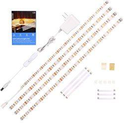 WOBANE LED Under Cabinet Lighting Kit,Flexible LED Ribbon Lights Bar,Under Counter Lights For Ki ...