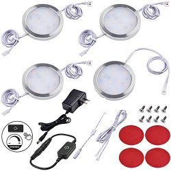Lvyinyin Under Cabinet Lighting Dimmable LED Puck Lights Kit, Touch Dimmer, Wall Plug Adapter, T ...