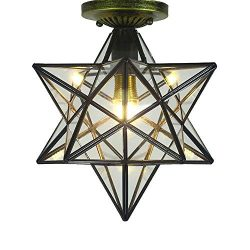 "Clear Glass Star Flush Mount Moravian 12"" Star Ceiling Light Shade with E26 Bulb Close To  ..."