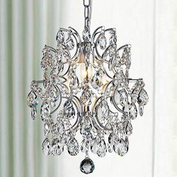 Bestier Modern Pendant Chandelier Crystal Raindrop Lighting Ceiling Light Fixture Lamp for Dinin ...