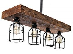 Farmhouse Lighting-Reclaimed Wood from Early-1900s-Rustic Lighting for Kitchen Island Lighting,  ...